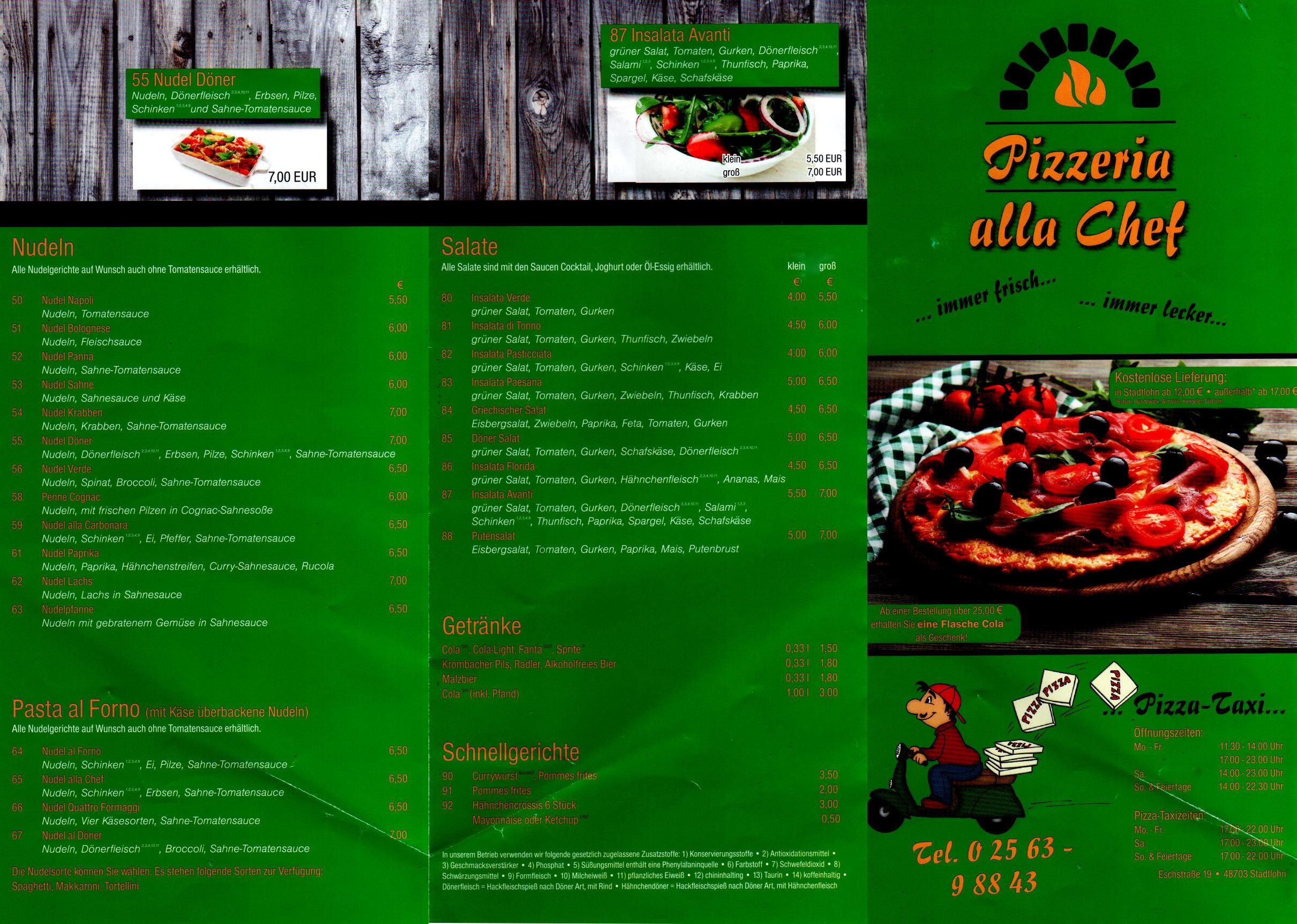 """Karte der Pizzaria Alla Chef, Ansicht """"außen"""""""